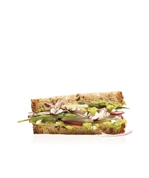 Avocado, Radish, and Snow Pea Sandwich