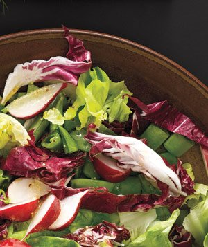 Greens With Radishes and Snap Peas