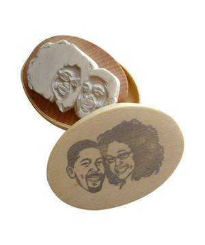 Custom Couple Portrait Carved Rubber Stamp