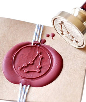 Zodiac Constellation Gold Plated Wax Seal Stamp