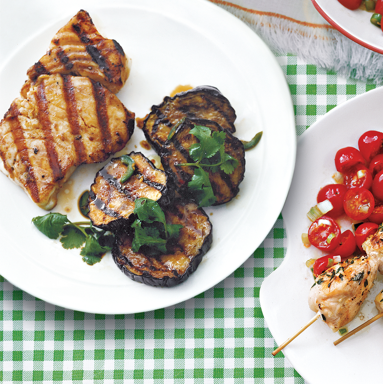 Halibut With Grilled Eggplant Salad