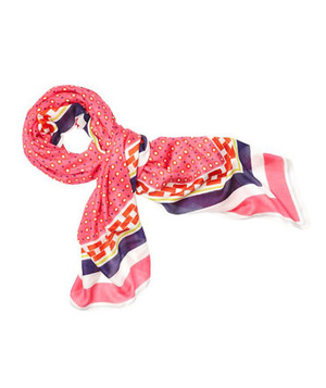 Loft Linked Border Bright Shape Print Scarf