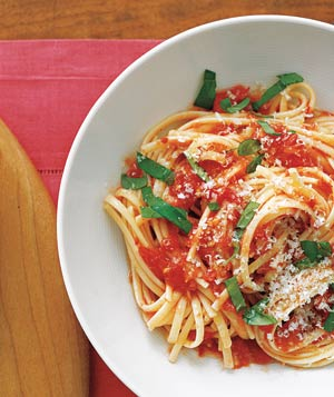 Top pasta with a fresh tomato sauce that you can make in just minutes.