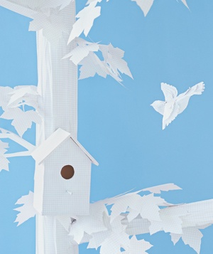 Paper construction of birdhouse by Matthew Sporzynski