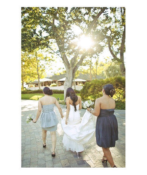 Bride and her two bridesmaids