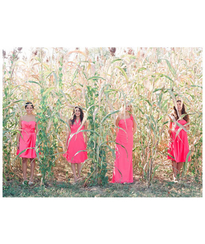 Bridesmaids standing in a wheat field wearing coral colored dresses