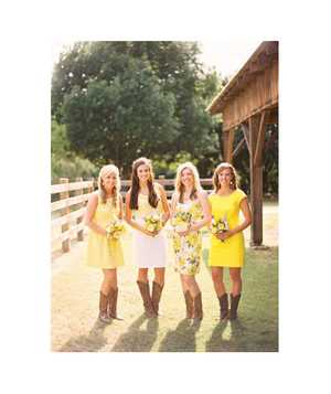 Bridesmaids wearing yellow dresses and cowboy boots