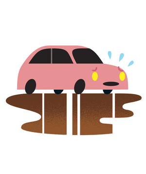 Illustration of a car leaking oil