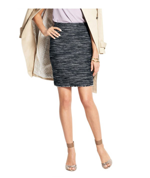 Ann Taylor Fringed Tweed Skirt