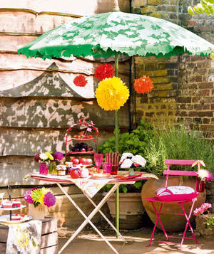 Boldly decorated patio