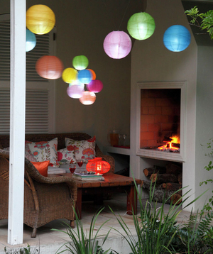 Outdoor patio with paper lanterns