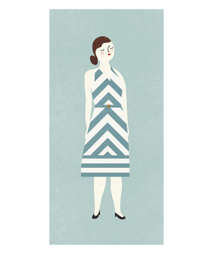 Illustration of a woman wearing a diagonal line patterned dress