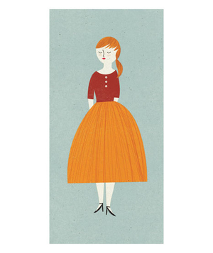 Illustration of a woman wearing a full orange skirt