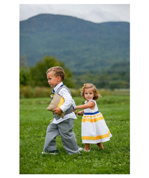 Ringbearer and flower girl dressed in yellow