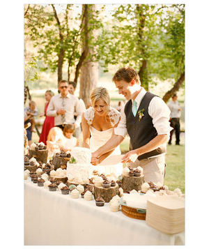 Newlyweds cutting cake at outdoor wedding reception