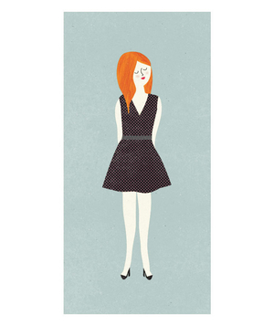 Illustration of a petite woman wearing a dress