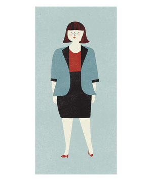 Illustration of a plus size woman wearing a blazer