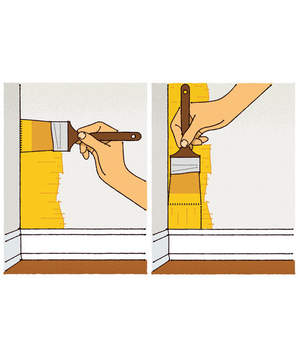 Illustration of a person painting a corner