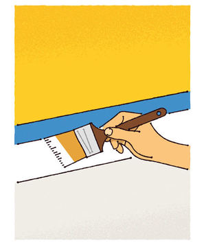 Illustration of a person painting molding