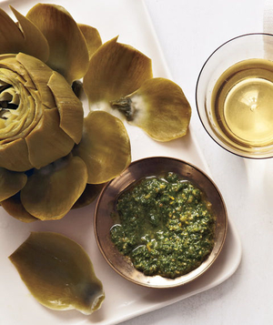 Steamed Artichokes With Mint Pesto