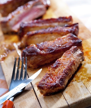 Slices of barbecued ribs