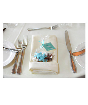Colorful chocolate starfish wedding favors