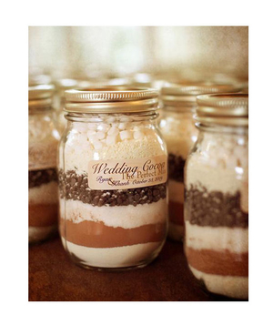 Mason jars filled with layered cocoa mix