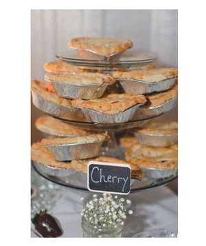Mini pies on a tiered cake stand