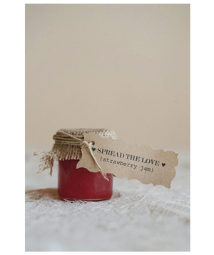 Small jar of strawberry jam wedding favor