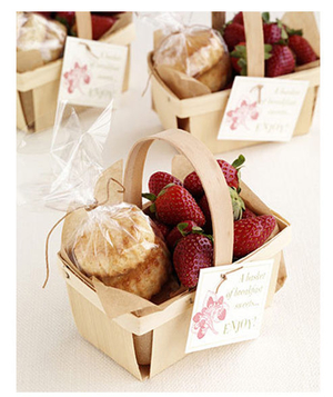 Fresh strawberries and biscuits in a basket