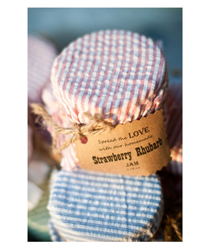 Strawberry rhubarb jam wedding favors