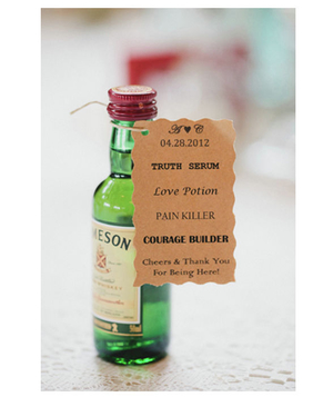 Tiny bottle of Jameson as a wedding favor