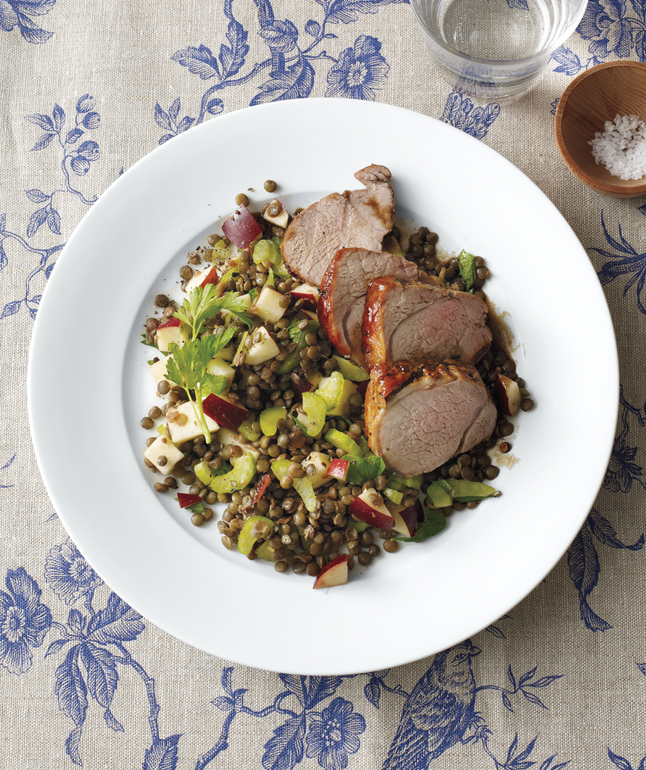 Balsamic-Glazed Pork With Lentils