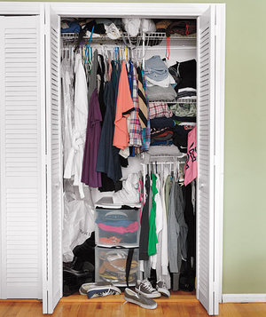 Disorganized bedroom closet