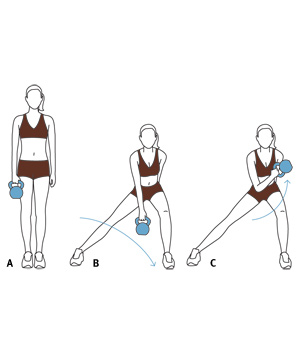 Move 5: Lateral Lunge and Biceps Curl