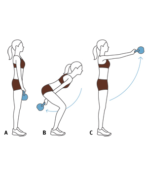 Illustration of swing kettlebell exercise