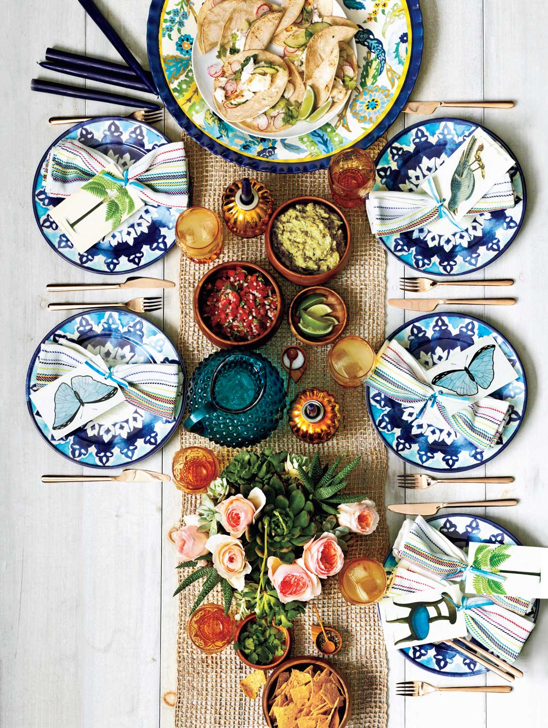 Food and products for outdoor dinner party - Landscape