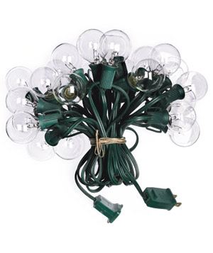 Bundled up string of outdoor lights