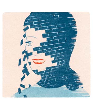 Illustration of woman's face with bricks falling off