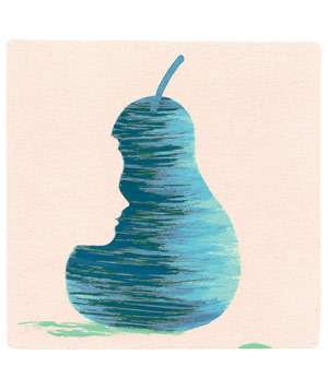 Illustration of blue pear with face cutout