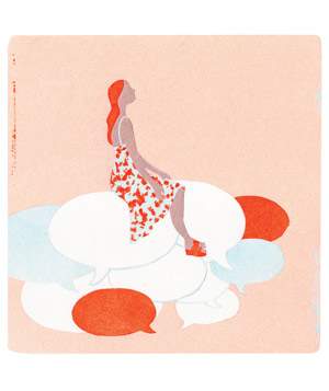 Illustration of woman sitting on thought bubbles