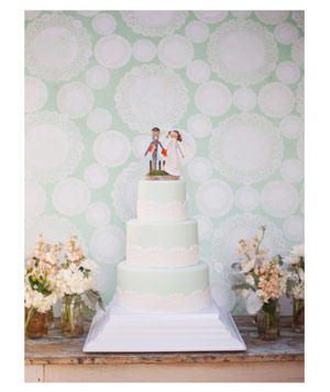 Three tiers of mint green cake with soft lace detailing