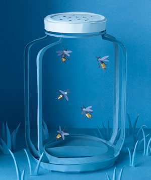Paper construction of jar of fireflies by Matthew Sporzynski