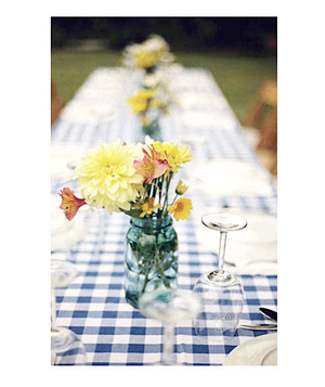 Casual wedding picnic table setting