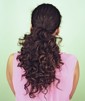Curly dark brown ponytail, back of head view
