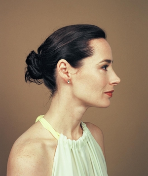 Profile view of woman with chignon hairstyle