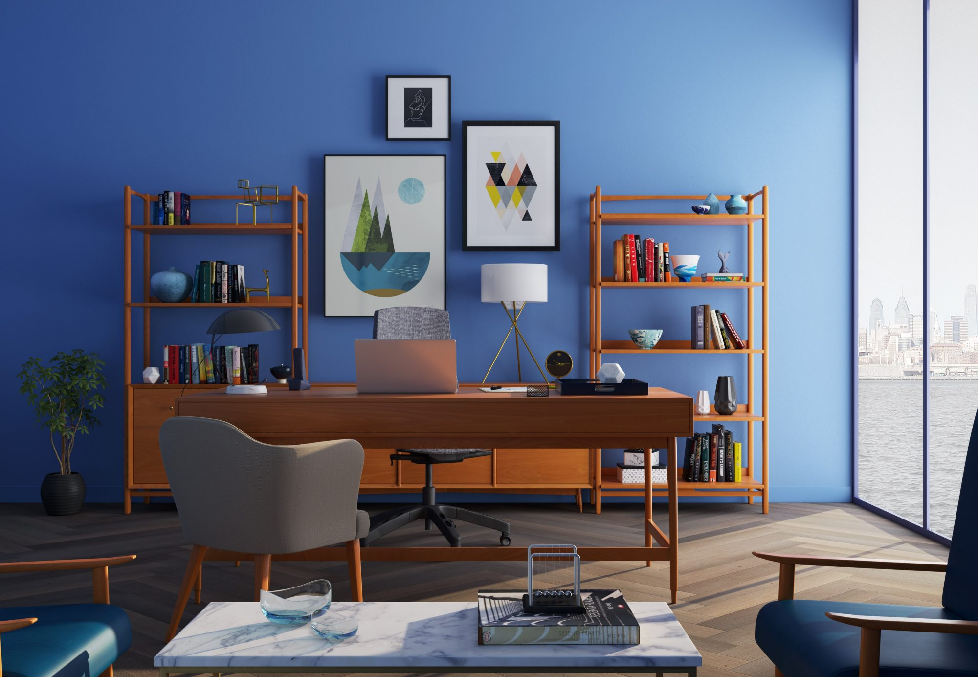 home office photos. Corner Home Office Space With Navy Blue Wall Photos