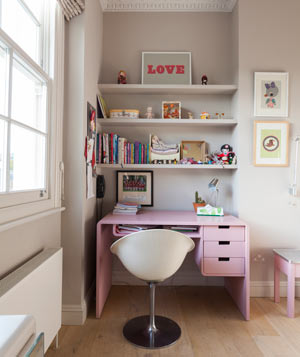 Pink Desk Space In Childs Room