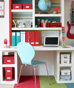 Work from home office ideas Office Space Kids White Red Light Blue Work Space Real Simple 17 Surprising Home Office Ideas Real Simple