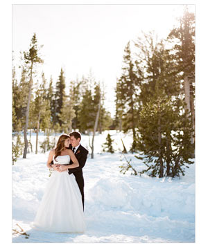 Wedding photo of couple in the snow